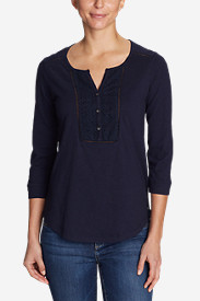 Women's Essential Slub 3/4-Sleeve Henley Shirt