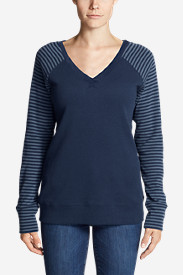 Women's Legend Wash Stripe-Block V-Neck Sweatshirt
