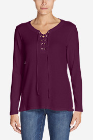 Women's Stine's Favorite Waffle Lace-Up Top - Mixed Media