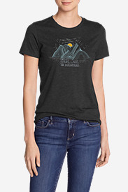 Women's Graphic T-Shirt - Dream Stars, Lakes, and Mountains