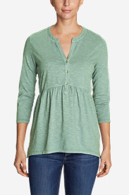 Women's Savannah 3/4-Sleeve Peplum Henley - Solid
