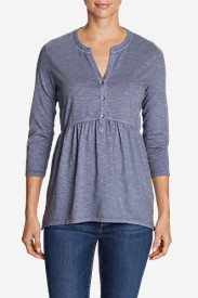 Women's Mountain Meadow 3/4-Sleeve Peplum Henley - Solid