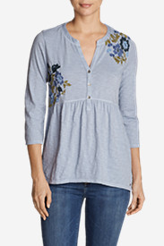 Women's Savannah 3/4-Sleeve Peplum Henley - Embroidered