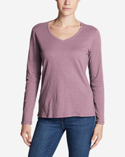Women's Legend Wash Slub Long Sleeve V Neck by Eddie Bauer
