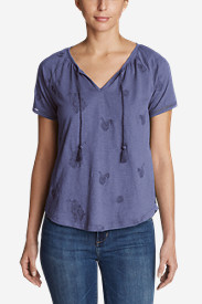 Women's Mountain Meadow Tie-Front Top - Embroidered