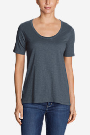 Women's Essential Slub Short-Sleeve Scoop-Neck High-Low Top - New