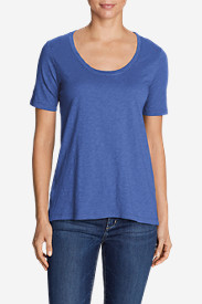 Women's Essential Slub Short-Sleeve Scoop-Neck High-Low Top