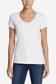 Women's Ladder-Stitch Short-Sleeve V-Neck T-Shirt
