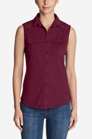 Women's Ravenna Sleeveless Button-Front Eyelet Shirt