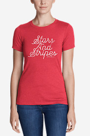 Women's Graphic T-Shirt - Stars and Stripes Script