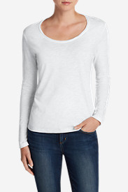 White Tees for Women: Women's Essential Slub Long-Sleeve Scoop-Neck T-Shirt