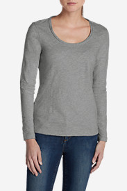 Gray Plus Size Tshirts for Women: Women's Essential Slub Long-Sleeve Scoop-Neck T-Shirt