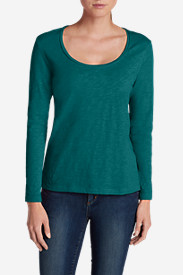 Green Tops for Women: Women's Essential Slub Long-Sleeve Scoop-Neck T-Shirt