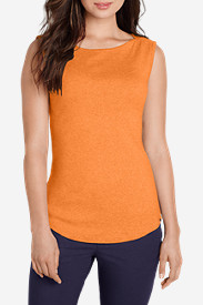Orange Tops for Women: Women's Favorite Sleeveless Bateau Top