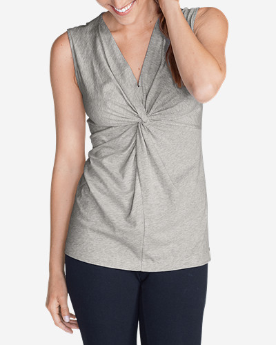 Gray Tank Tops for Women: Women's Girl On The Go® Sleeveless Twist V-Neck Top
