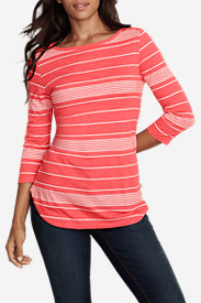 Women's Essential 3/4-Sleeve Slub Boat-Neck T-Shirt - Stripe