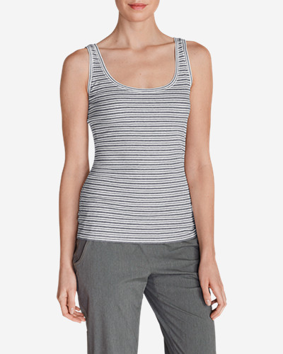 Gray Tank Tops for Women: Women's Lookout 2x2 Tank Top - Stripe