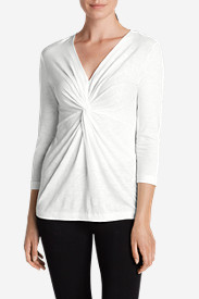 Cotton Tops for Women: Women's Girl On The Go® 3/4-Sleeve Twist Front Top