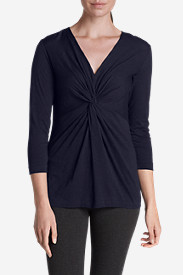 Blue Tops for Women: Women's Girl On The Go® 3/4-Sleeve Twist Front Top
