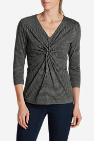 Cotton Tops for Women: Women's Girl On The Go® 3/4-Sleeve Twist-Front Top
