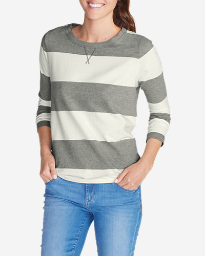 Gray Plus Size Sweatshirts for Women: Women's Rugby Stripe Sweatshirt