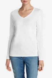 White Tees for Women: Women's Essential Slub Long-Sleeve V-Neck T-Shirt