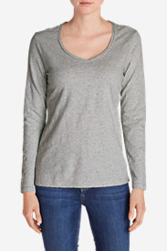 Gray Plus Size Tshirts for Women: Women's Essential Slub Long-Sleeve V-Neck T-Shirt