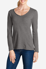 Women's Essential Slub Long-Sleeve V-Neck T-Shirt
