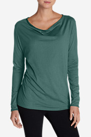 Green Tops for Women: Women's Girl On The Go Cowl-Neck Top