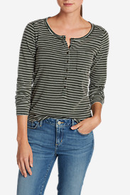 Green Tops for Women: Women's Gypsum Henley - Stripe