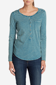 Cotton Tops for Women: Women's Gypsum Henley - Stripe