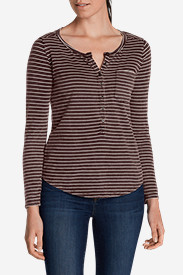 Petite Tops for Women: Women's Gypsum Henley - Stripe