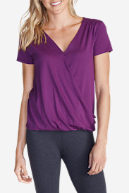Purple Tees for Women: Women's Girl on The Go® Draped Cross Front Top