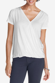 White Tees for Women: Women's Girl on The Go Draped Cross Front Top