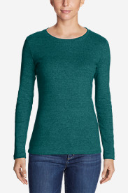 Green Tops for Women: Women's Favorite Long-Sleeve Crewneck T-Shirt