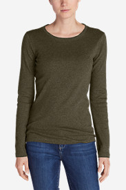 Green Plus Size Tshirts for Women: Women's Favorite Long-Sleeve Crewneck T-Shirt