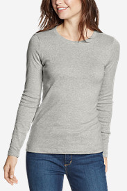 Gray Plus Size Tshirts for Women: Women's Favorite Long-Sleeve Crewneck T-Shirt