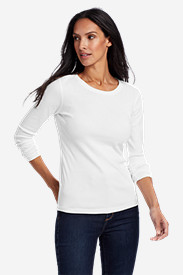 White Tees for Women: Women's Favorite Long-Sleeve Crewneck T-Shirt