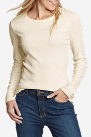 Beige Tees for Women: Women's Favorite Long-Sleeve Crewneck T-Shirt