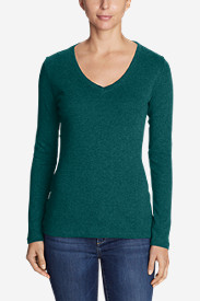 Green Tops for Women: Women's Favorite Long-Sleeve V-Neck T-Shirt
