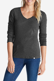 Gray Plus Size Tshirts for Women: Women's Favorite Long-Sleeve V-Neck T-Shirt