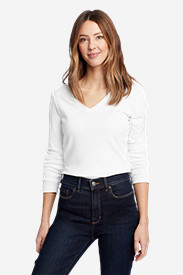 White Tees for Women: Women's Favorite Long-Sleeve V-Neck T-Shirt