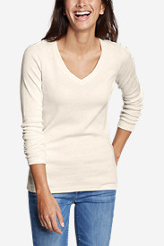 Beige Petite Tshirts for Women: Women's Favorite Long-Sleeve V-Neck T-Shirt