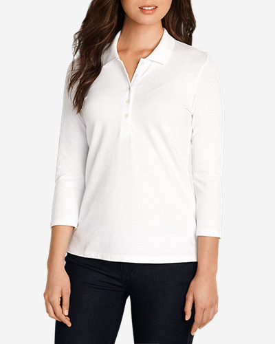 Three-Quarter Sleeve Tops for Women: Women's 3/4-Sleeve Piqué Polo Shirt