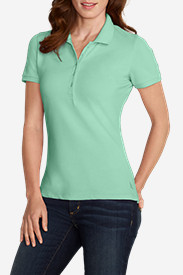 Green Tops for Women: Women's Short-Sleeve Piqué Polo Shirt