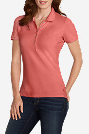 Orange Tops for Women: Women's Short-Sleeve Piqué Polo Shirt