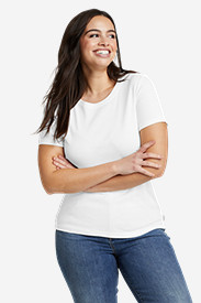 White Tees for Women: Women's Favorite Short-Sleeve Crewneck T-Shirt