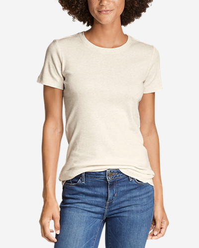 Beige Tees for Women: Women's Favorite Short-Sleeve Crewneck T-Shirt