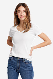 White Tees for Women: Women's Favorite Short-Sleeve V-Neck T-Shirt