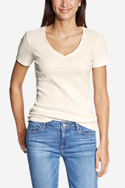 Beige Petite Tshirts for Women: Women's Favorite Short-Sleeve V-Neck T-Shirt